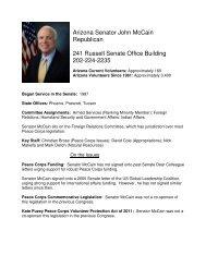 Arizona Senator John McCain Republican 241 Russell Senate ...
