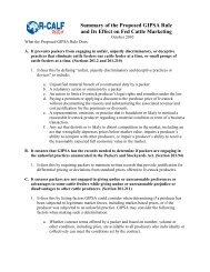 Two-page Summary of Proposed GIPSA Rule - R-Calf