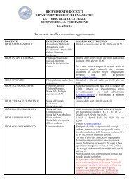 Orario di Ricevimento dei docenti a. a. 2012-2013 - Lettere e filosofia