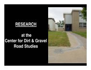 CDGRS Research - Center for Dirt and Gravel Road Studies