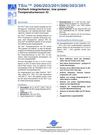 TSic™ 206/203/201/306/303/301 Einfach integrierbarer, low power ...