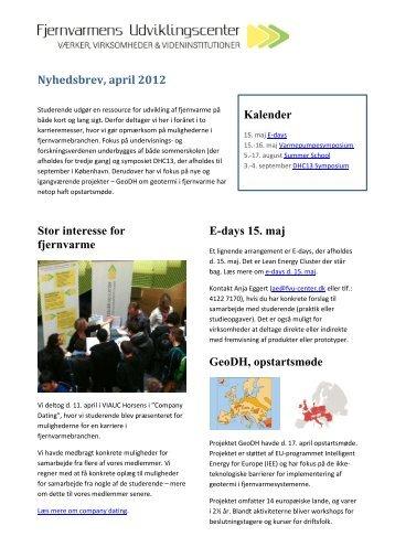 FVU Nyhedsbrev, april 2012