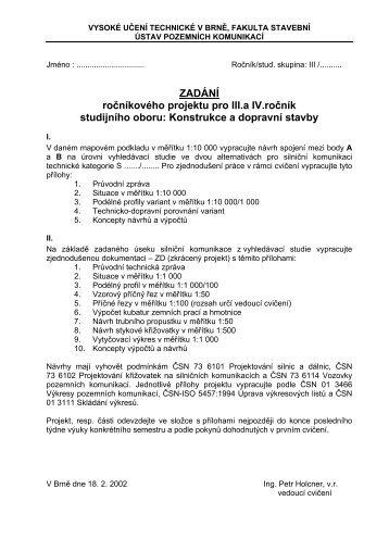 ZADÁNÍ č.1 - Fakulta stavební - Vysoké učení technické v Brně