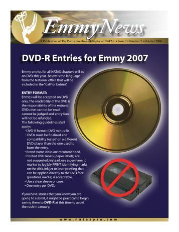 DVD-R Entries for Emmy 2007 - National Academy of Television Arts ...