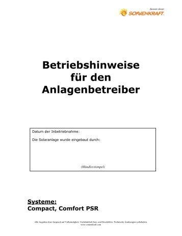 Betriebshinweise für den Anlagenbetreiber - Marc Hinrichs