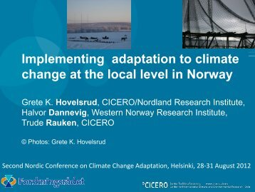 Implementing adaptation to climate change at the local level in Norway