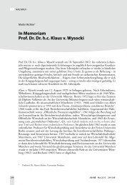In Memoriam Prof. Dr. Dr. h.c. Klaus v. Wysocki - Fakultät für ...