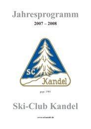 Jahresprogramm Ski-Club Kandel - Ski-Club Kandel eV Waldkirch