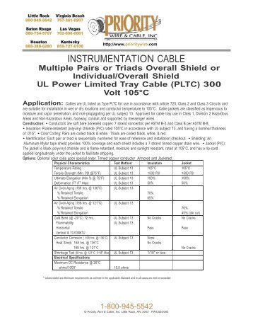Priority Wire And Cable | Multi Conductor Teck 90 C S A Xlpe Priority Wire Cable