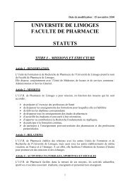 Statut Pharmacie - Faculté de Médecine de Limoges - Université de ...