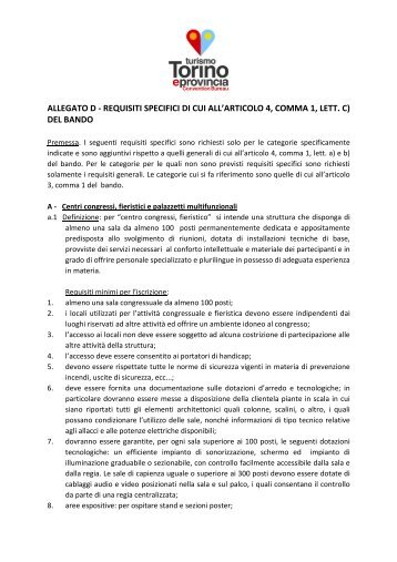 ALLEGATO D - REQUISITI SPECIFICI DI CUI ALL ... - Turismo Torino