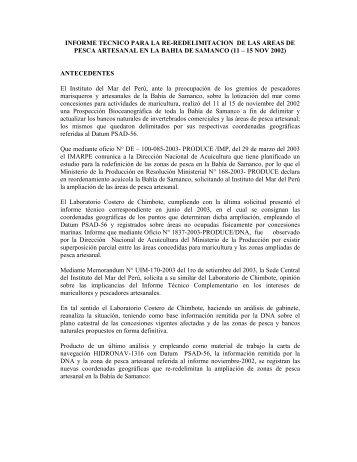 INFORME TECNICO PARA LA RE-REDELIMITACION DE ... - Imarpe