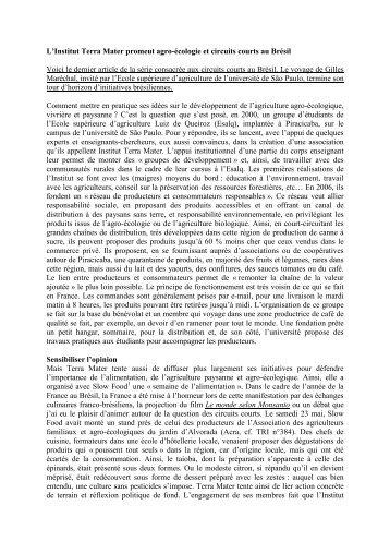 Lu0027Institut Terra Mater Promeut Agro écologie Et ...