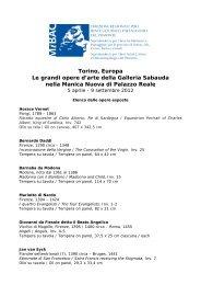 Elenco opere Galleria Sabauda - La Venaria Reale