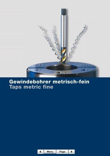 Gewindebohrer metrisch-fein Taps metric fine