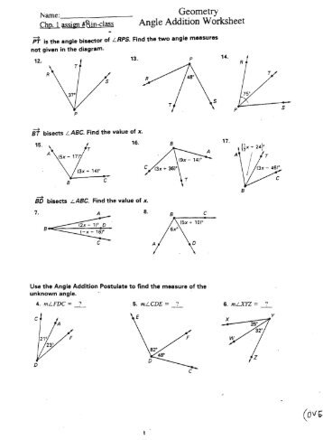 Segment and Angle Addition Postulates Exploration - MILC