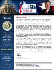 Representative Dan Huberty Less than 30 Days - Texas House of ...
