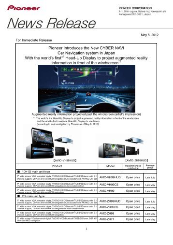 Pioneer Introduces the New CYBER NAVI Car Navigation system in ...