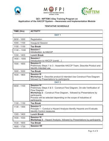 Page 1 of 2 QCI - NIFTEM 3-Day Training Program on Application of ...