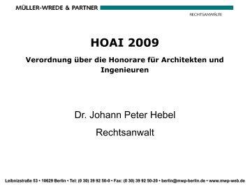 Architekt Hoai minderung der leistungsbilder und honorare bei architekten