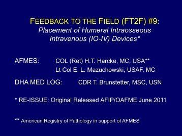 FT2F-9 Placement of Humeral IO-IV Devices