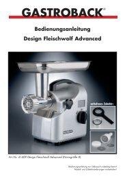 GASTROBACK® Bedienungsanleitung Design Fleischwolf Advanced