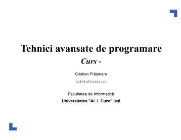 Tehnici avansate de programare - Profs.info.uaic.ro