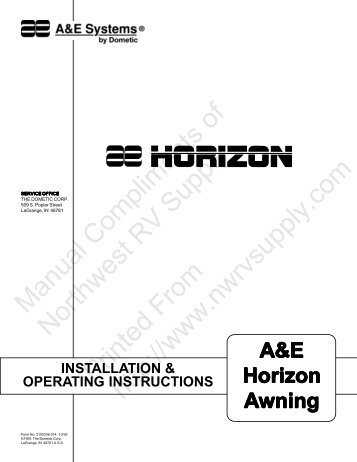 Horizon Awning Installation Operating Instructions