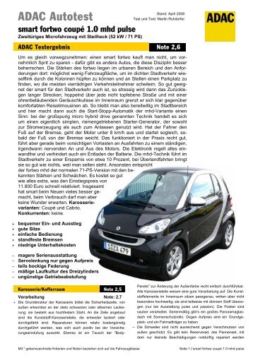 Umfassender Test smart fortwo coupé 1.0 mhd pulse - ADAC
