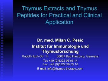 Thymus Extracts and Thymus Peptides for ... - Thymus Therapy