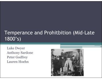 Temperance and Prohibition