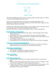 Zionsville Middle School PTO Meeting Minutes January 13, 2009 ...
