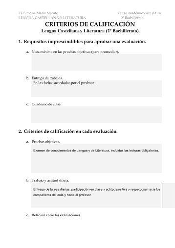 2. Criterios de calificación en cada evaluación. - ies ana maría matute