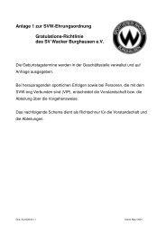 Anlage 1 zur SVW-Ehrungsordnung Gratulations-Richtlinie des SV ...