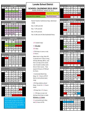 New! 2013-2014 District Calendar - Lonoke Public School District
