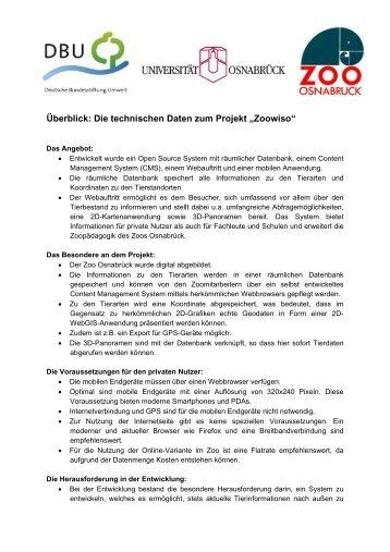 """Die technischen Daten zum Projekt """"Zoowiso"""" - WissensSchule.de"""