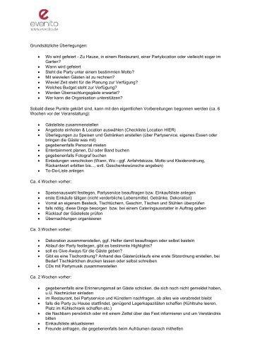 Download Checkliste - Party - evenito