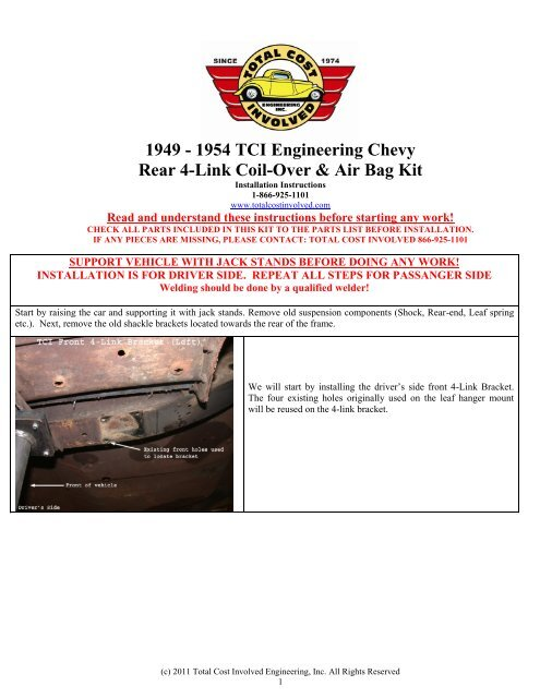 1949 - 1954 TCI Engineering Chevy Rear 4-Link Coil-Over