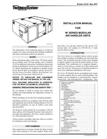 Ameristar Air handler install manual