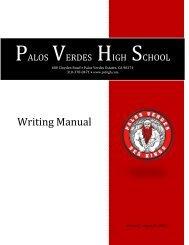 Palos Verdes High School Writing Manual 2011-2012