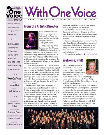 2005 Fall Newsletter - One Voice Mixed Chorus