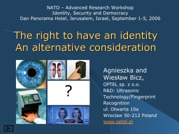 The right to have an identity An alternative consideration - Optel