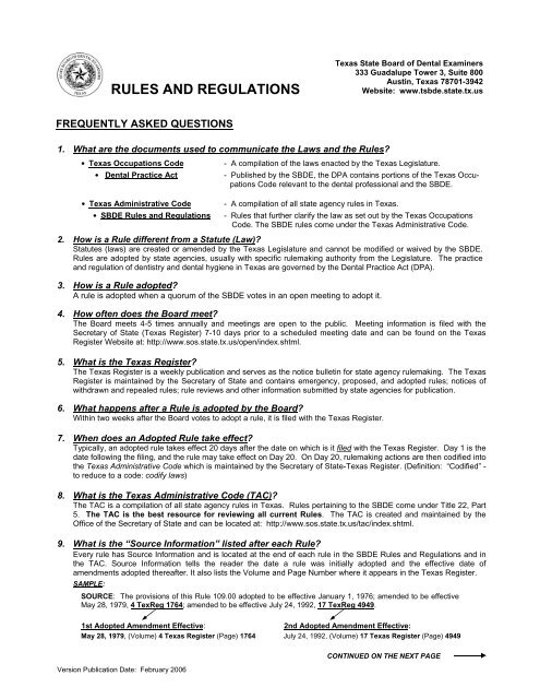 rules and regulations - Texas State Board of Dental Examiners