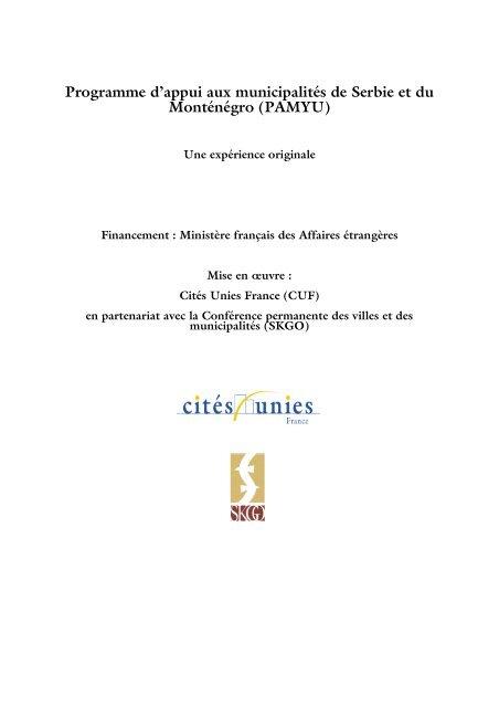Présentation succincte du programme PAMYU - Cités Unies France