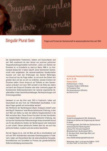 Singulär Plural Sein - Sonderforschungsbereich 626