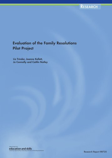 Evaluation of the Family Resolutions Pilot Project - College of Social ...