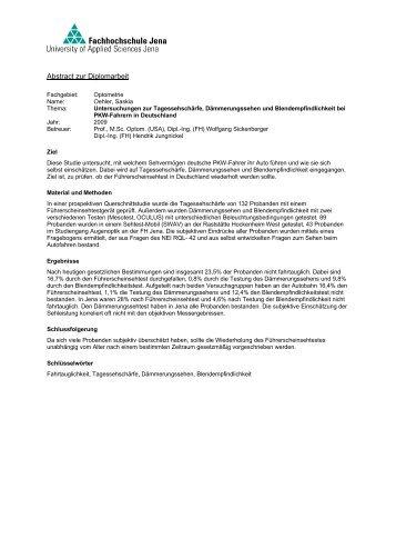 Abstract Zur Bachelorarbeit Fachhochschule Jena