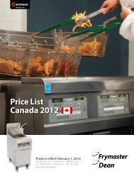 Price List Canada 2012 - Manitowoc Foodservice