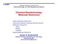 Chemical Nanotechnology - Washington Academy of Sciences