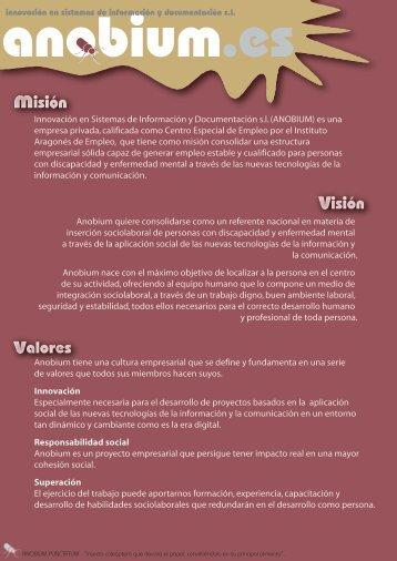 Descargar Misión, visión, valores y servicios de Anobium.pdf